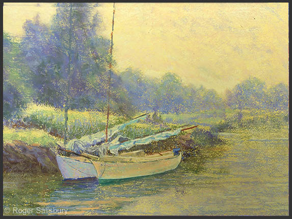 "June Morning, Burnham's Boatyard? 12"" x 16""   Pastel"